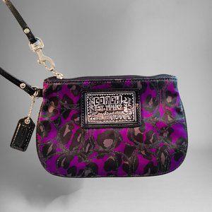 COACH Ocelot Poppy Wristlet Black Cheetah Purple
